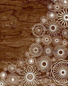 Dark Brown Woodgrain Faux Bois White Spirograph Home Decor Art Print  -  8 x 10 - Spirograph No.3 - Dark