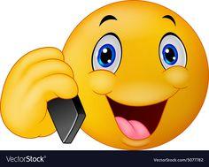 Emoticon smiley talking on cell phone vector image on VectorStock Smileys, Naughty Emoji, Jill Scott, Emoji Symbols, Illustrations, Tweety, Vector Free, Pikachu, Anime