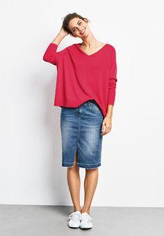 Plus Size Button Down Denim Pencil Skirt | Denim pencil skirt ...