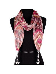 Red Exotic Print Scarf with Heart Pendants