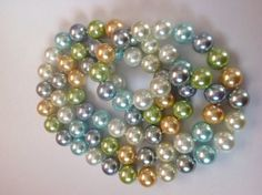 Spring pastel color glass pearls necklace by BlkBttrflyDsgns