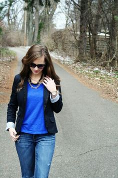 navy blue top with jeans | Navy Blue blazer, blue top, jeans