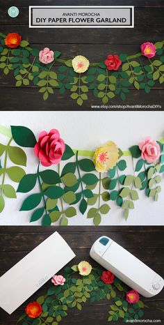 Paper flower garlands – Diy garland paper – Construction paper flowers – Flower garland diy – P Paper Flower Garlands, Paper Flowers Craft, Large Paper Flowers, Flower Crafts, Diy Flowers, Flower Paper, Flower Diy, Making Flowers With Paper, Flower Wall