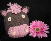 Cute Brown and Pink Crochet Horse/Pony Hat (Toddler Size 1-3 years)