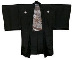 japanese antique silk man's kimono jacket haori