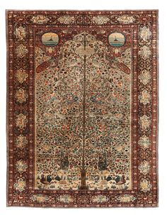 Persian Sarouk rug, possibly Kazwin or India, ivory ground with polychrome flowering trees, butterflies, birds including large peacocks, hens and roosters,  medallions with boat on the water under the starry sky, late 19thc