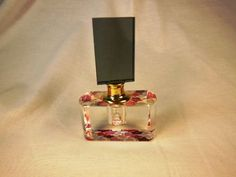 Murano Style Perfume Bottle  Rectangular Screw  Top Pink Red Crystal Base 3 3/4