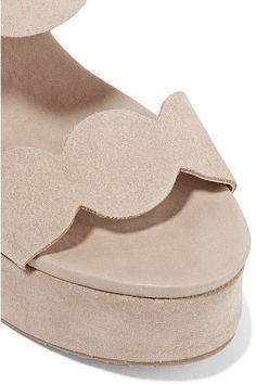 Pedro Garcia - Dyane Suede Wedge Sandals - Neutral - IT38.5