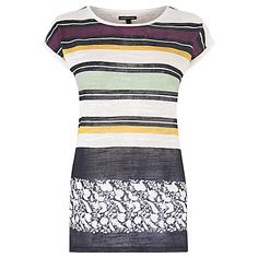 Buy Warehouse Stripe and Floral T-Shirt, Multi Online at johnlewis.com