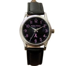 """Nurse Mates Pink Ribbon Watch. This is a Pink Ribbon watch with black face and black PU leather straps. 1"""" case size. Battery SR626SW included. Fits Wrist Sizes 5 1/2"""" - 8""""."""