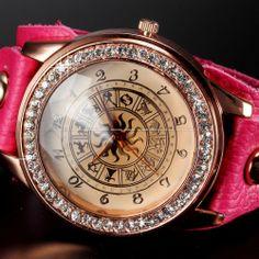 Rose Gold Crystal Clock Women Pattern Lady Pink Bracelet Quartz Women Steampunk Wristwatch Leather Casual Dress Rhinestone Watch $8.99  #Fashion #Lady Dress #Watch