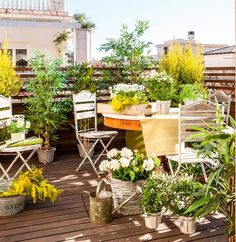 This is such a gorgeous outdoor living space! I love how this patio is filled with lots of plants & flowers. Imagine gardening & overlooking the city!