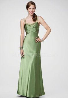 Spaghetti Straps Sleeveless A line Empire Floor Length Elastic Silk Like Satin Prom Dress