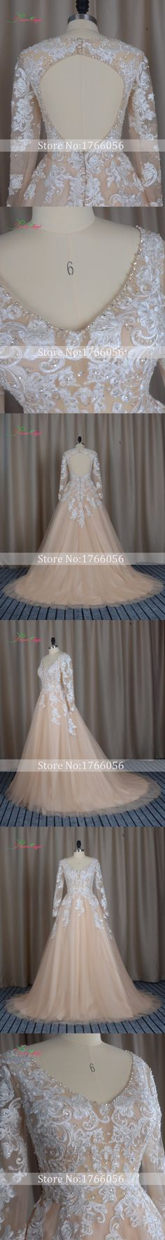 Dream Angel Sexy Backless Long Sleeve A Line Wedding Dresses 2017 V Neck Appliques Beaded Full China Robe De Mariee Plus Size