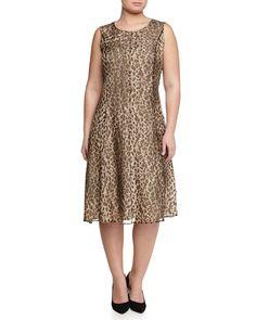 Animal-Print Dress W/ Attachable Sleeves, Women's, Size: 18W, Black - Marina Rinaldi