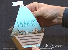 2017 Stampin' Up Occasions Sneak Peek: Sail Boat Treat Box made from the Window Box Thinlits Dies