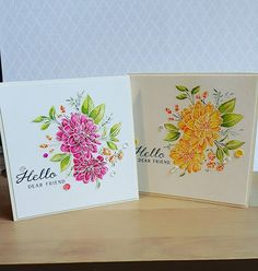 """A little watercolouring to finish the day. Two of my friends have asked for """"that dahlia stamp"""" on their birthday cards after they saw another card. One asked for yellow, the other pink! (So demanding lol!) Got to be honest yellow was really hard for me, trying to get the definition on the petals. #wplus9stamps #watercolour ingredients #distressinks #card #cardmaking #handmadecards #dahlia"""
