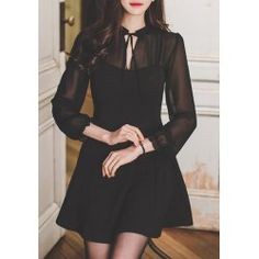 SHARE & Get it FREE | Vintage Tied Stand Collar Long Sleeve Pleated Black Chiffon Dress For WomenFor Fashion Lovers only:80,000+ Items • FREE SHIPPING Join Twinkledeals: Get YOUR $50 NOW!