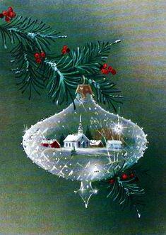Vintage Christmas Card Crystal ornament. #vintagegreetingcards