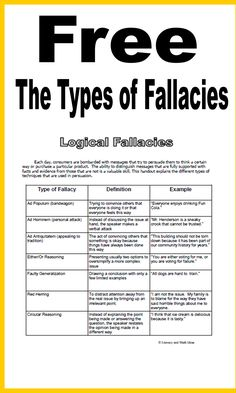 Literacy & Math Ideas: (Freebie) The Types of Fallacies in Argument and Persuasive Writing Argumentative Writing, Persuasive Writing, Teaching Writing, Writing A Book, Writing Tips, Teaching Ideas, English Writing Skills, Teaching English, English Teachers