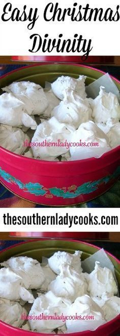 This divinity is so easy to make in the microwave and so good. Makes a great gift, too. This recipe is adapted from a Sharp Carousel Microwave Coo… easy christmas baking recipes Köstliche Desserts, Holiday Desserts, Holiday Baking, Holiday Recipes, Dessert Recipes, Holiday Treats, Easy Christmas Candy Recipes, Southern Christmas Recipes, Homemade Christmas Treats
