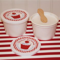 Retro Dixie Ice Cream Cups , 10 School style Ice Cream Cups, Pull Tab Lid,Wooden Spoon and DIY Cup Label, Country Store Dixie Cups. $12.00, via Etsy.