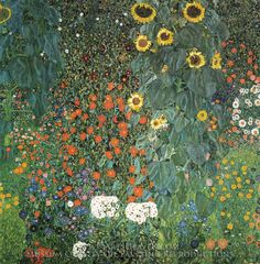 Gustav Klimt Farm Garden with Sunflowers Painting Reproduction Art On Canvas