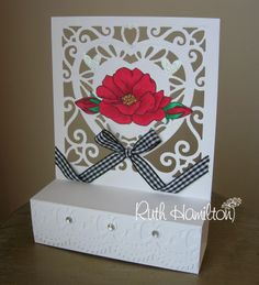 Dimensional card from RUTH Tonic Cards, Studio Cards, Die Cut Cards, Silhouette Design, Craft Tutorials, Red Roses, Cardmaking, Card Ideas, Decorative Boxes
