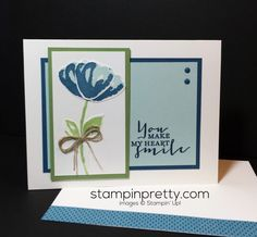 Bunch of Blossoms Card with a Punch! (Mary Fish, Stampin' Pretty The Art of Simple & Pretty Cards) Card Making Inspiration, Making Ideas, Stampin Pretty, Punch, Stampin Up Catalog, Making Greeting Cards, Friendship Cards, Pretty Cards, Card Sketches