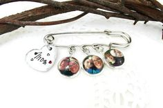 Personalized Mother's Photo Charms Pin Hand by JulessJewels Mother Photos, Photo Charms, Hand Stamped Jewelry, Family Gifts, Lapel Pins, Wedding Gifts, Unique Jewelry, Handmade Gifts, Jewels