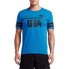 Nike Men's Energy USA Running T-Shirt, Size: Medium, Blue