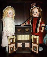 Mini wood dollshouse in Manwaring s.XIX Style, Toy for antique dolls, Handmade
