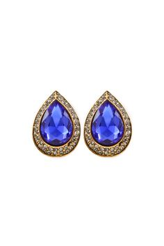 Stunning, timeless, classic, Elizabeth Teardrop Earrings in Royal Blue outlined with a double row of Black Diamond Crystals.