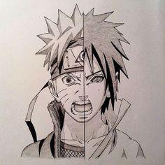 Naruto and Sasuke Naruto Drawings, Naruto Sketch, Naruto Art, Anime Sketch, Naruto Tattoo, Anime Tattoos, Chica Anime Manga, Anime Art, Thicc Anime