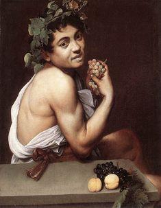 Caravaggio or Michelangelo Merisi o Amerighi da Caravaggio (Italian [Baroque] Self Portrait as Bacchus (also known as Sick Bacchus or Satyr with Grapes), circa Galleria Borghese, Rome. The Athenaeum Baroque Painting, Baroque Art, Italian Painters, Italian Artist, Art Du Temps, Michelangelo Caravaggio, Tableaux Vivants, Rome Antique, Bacchus