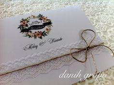 Convite de Casamento Renda Rústico