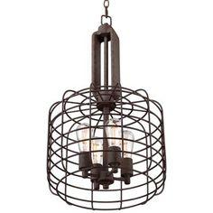 "Industrial Cage 14 1/2"" Wide Rust Metal Pendant Light - #W8377 | LampsPlus.com"