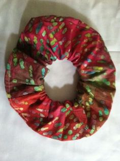 """Full, """"Bunchy"""" Scrunchy, Hair Tie Multi Color Batik # 2 Front And Back Pictured"""