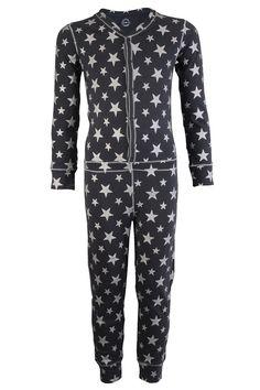 Claesen's onesie pyjama voor meisjes Grey Silver Stars grijs zilver
