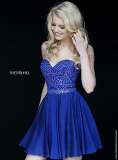 Royal blue Sherri Hill short formal beaded A Line dress 1978 -- Perfect for a winter wonderland sweet 16 birthday party.