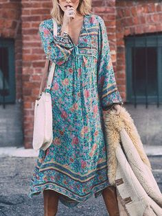 Sweet Blue Bohemia Floral 3/4 Sleeve Beach Dress Maxi Dress