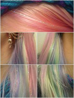 rainbow hair with hair tinsel Cabelo Inspo, My Little Pony Hair, Pelo Multicolor, Color Fantasia, Hair Tinsel, Fairy Hair, Hair Color And Cut, Unicorn Hair, Aesthetic Hair