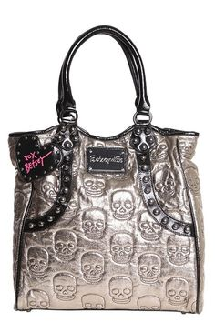 ☆ Betseyville Metallic Gold Skull Shopper Tote Bag ☆