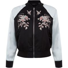 New Look Petite Black Embroidered Contrast Sleeve Bomber Jacket featuring polyvore women's fashion clothing outerwear jackets black pattern blouson jacket embroidery jackets print bomber jacket embroidered jacket bomber style jacket