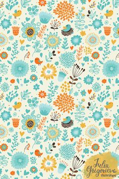 Floral seamless patterns by Julia Grigorieva, via Behance