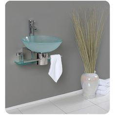 Fresca Cristallino Modern Glass Bathroom Vanity with Frosted Glass Vessel Sink Floating Sink, Floating Bathroom Vanities, Glass Bathroom, Single Bathroom Vanity, Modern Bathroom, Bathroom Sinks, Bathroom Ideas, Bath Vanities, Bathroom Remodeling