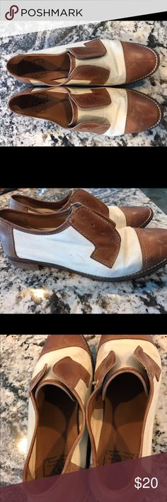 Lucky Brand Saddle Shoes Canvas and tan leather saddle shoes. I love these, and they show a bit of that! Scuffed when bought and added to it with wear. Vintage, hipster look, I love! Spotted in Carrie Diaries, young Carrie Bradshaw wore them! Lucky Brand Shoes Flats & Loafers
