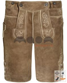 Loisachtal Lederhose Kurz Braun Art. #MnS-60-0092933 Length: Short (Kurz) Material: Goat skin Buttons: Deer horn   DESCRIPTION Loisachtal Lederhose Kurz for men by Moon Sports in Inkabraun. The traditional leather pants (lederhose) feature classic embroidery on the bib, leg ends and on the knife pocket. In addition, the short leather pants have two pockets, a short button placket at the leg ends and useful belt loops. Lederhosen by Moon Sports stand for the highest quality...(cont'd) Lederhosen, Deer, Leather Pants, Moon, Buttons, Pockets, Embroidery, Traditional, Classic