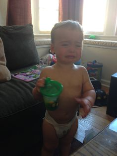 This dad posts pictures of his son crying with descriptions of what made him cry.