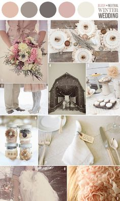 possible wedding colors... im loving blush, peach, light coral tones, mixed with mint or navy blue and grey. champagne tones are beautiful too. anything that is feminine and romantic